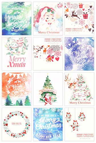 (24 Pack Mini Christmas New Year Holiday Greeting Cards, 12 UNIQUE Watercolor Christmas Illustrations DESIGNS, 2 Cards Per Design, Envelopes Included, 3.1x3.5 inches)