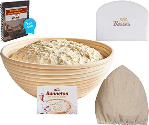 (8.5 Inch) Banneton Proofing Baskets + Bowls Scraper & Cloth Liner - Perfect Artisan Bread Loaf Shape Flour Round Rising Rattan Wicker Wood Handmade Oval Prooving Brotform Set Dough Box (Artisan Bread Stone compare prices)