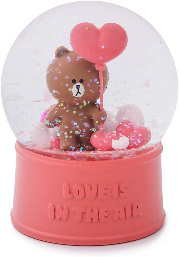 Light Blue Brown and Sally Character Cute Home D/écor LINE FRIENDS Snow Water Globe