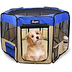 "Jespet 45"" Pet Dog Playpens, Portable Soft Dog Exercise Pen Kennel with Carry Bag for Puppy Cats Kittens Rabbits, Blue"