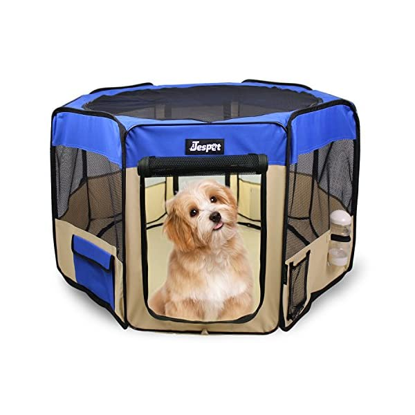 Jespet 61″ Pet Dog Playpens, Portable Soft Dog Exercise Pen Kennel with Carry Bag for Puppy Cats Kittens Rabbits,Blue