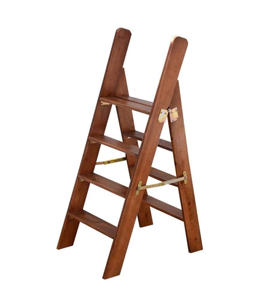 4つのステップの家族が付いている純木の梯子の多機能の階段椅子の折りたたみスツール WJMYYX B07S6LRMJD