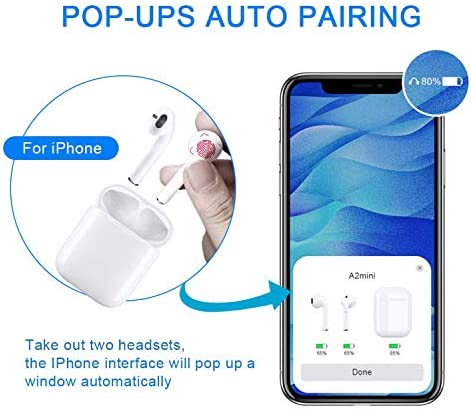 DANUS Wireless Earbuds Bluetooth Headphones IPX5 Waterproof Sports Earphones CVC8.0 Noise Cancelling Headsets 24 Hours Extended Playtime for Android Samsung iPhone Apple airpod Airpods