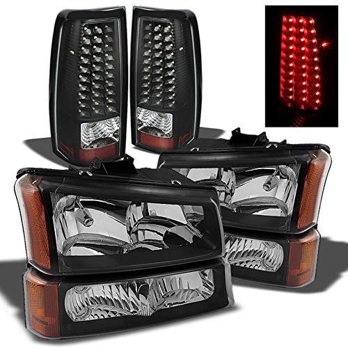 Xtune for 2003-2006 Chevy Silverado Black Headlights + Bumper Lights + LED Tail Lights Combo 2004 2005