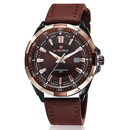 Tonnier Analog Men's Quartz Watch Calendar Watches Brown Leather Strap Luxurious Man Watches