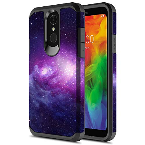 LG Q7 Case, LG Q7 Plus Case, Onyxii Hybrid Dual Layer Slim Graphic Armor Shockproof Impact Resistant Protective Cover Case for LG Q 7/ Q7 Plus (Galaxy Cloud)