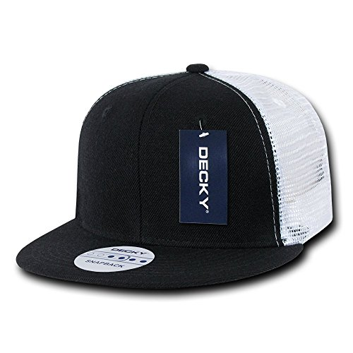 DECKY 6 Panel Flat Bill Trucker Cap, Black/White