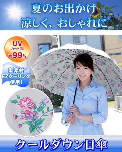 14℃下がる!【クールダウンUVカット日傘】 花柄シルバー