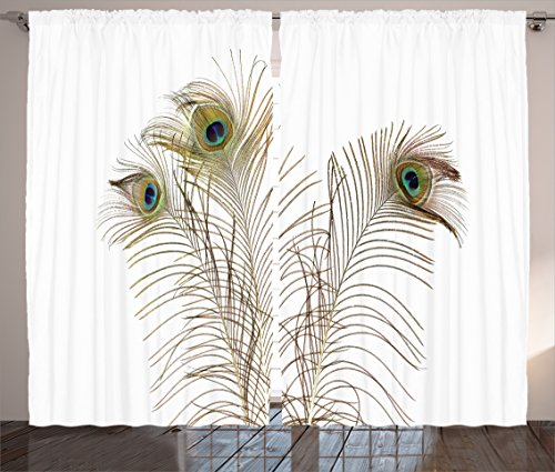 Peacock Decor Curtains by Ambesonne, Peacock Feathers Closeup Simple Picture Minimalistic Design Stylish Home Artwork, Living Room Bedroom Decor, 2 Panel Set, 108 W X 84 L Inches, Turquoise Brown