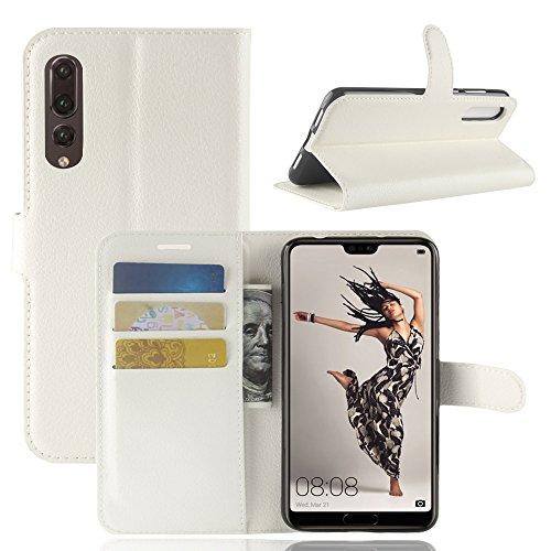 Huawei P20 Pro Funda, Moonmini Ultra Delgada Libro Caso Flip Folio Funda de cuero PU Billetera Ranura de Tarjeta de Crédito Caja antirayas a prueba de choques del teléfono con Cierre Magnético y funci Blanco