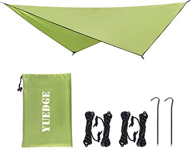 YUEDGE Easy Set Up Portable Waterproof Camping Tarp Shelter Sunshade Rain Tarp Tent Tarp Hammock Tarp Rain Fly