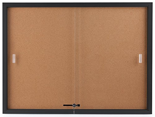 Displays2go Enclosed Cork Board, Sliding Glass Door, 4' x 3', Locking Bulletin Board for Wall (Sliding Door Cork Board)