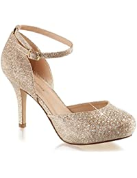 Womens Nude Color Shoes Glitter Pumps Ankle Strap Silver...