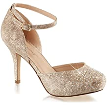 Summitfashions Womens Nude Color Shoes Glitter Pumps Ankle Strap Silver Rhinestone 3 1/2 inch