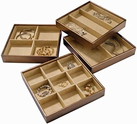 Stock Your Home Stackable Jewelry Organizer Trays Set of 4 With Functionality As Jewelry Storage Trays, Jewelry Organizer For Drawer & Jewelry Storage Trays