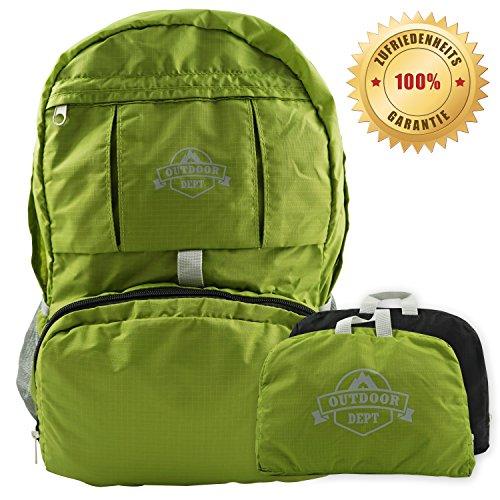 Faltbarer Rucksack nur 250 Gramm leicht mit Bauchgurt, Reiserucksack, Tagesrucksack oder Handgepäck, Grün, klein, 25 Liter