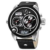 Mens Fashion Oversize Dial Dual Movement Genuine Leather Quartz Wirst Watch wh2305-1c