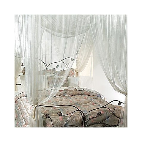 100% Polyester Majesty Ivory Large Bed Canopy with Four Satin-Like Braided Cords