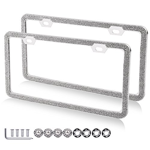 OCPTY Rhinestone License Plate Covers License Plate Frame 2 Pack Protect Plates Replacement fit for Any Standard US Plates