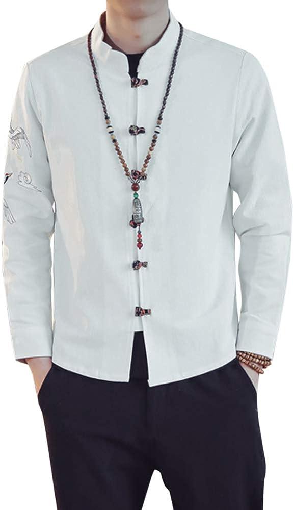 Camisa Shirt Henley de Lino, Manga Larga, Cuello Mao, Camiseta Hombre Blanco M: Amazon.es: Ropa y accesorios