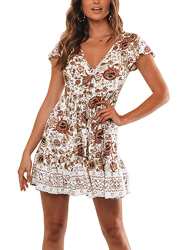 YIBOCK Women's Summer Short Sleeve V Neck Button Ruffle Swing Mini Dress