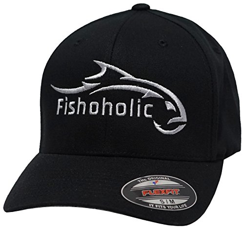 Fishoholic (R) L / XL Flexfit 5001 Low Profile Black Baseball Fishing Hat. Fishaholic ALL SILVER Embroidery Front & Back. Brand New Logo 2017. USPTO Registered (R) Trademark. (FF-blk-SlvSLVR-LXL)