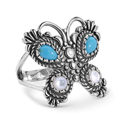 (American West Sterling Silver Blue Turquoise and White Mother of Pearl Gemstone Butterfly Ring Size 06)