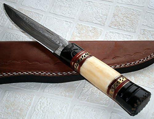 Poshland BC- T- 023 Custom Handmade Damascus Steel Knife- Stunning, Unique Design
