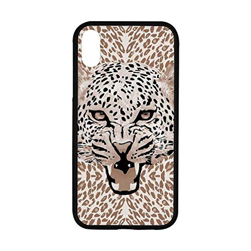 - Modern Rubber Phone Case,Roaring Leopard Portrait with Rosettes Wild African Animal Big Cat Graphic Compatible with iPhone XR