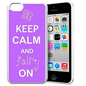 Keep Calm and Fairy On Pattern HD Durable Hard Plastic Case Cover for iPhone 5c Design By GXFC Case