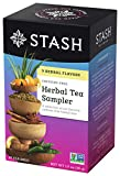 Stash Tea Herbal Tea Sampler, Nine Flavor Variety Pack, 18 Count Tea Bags in Foil (Pack of 6)