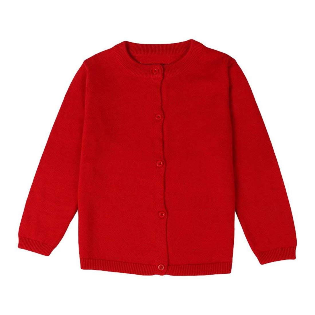 Dutebare Girls Crewneck Cardigan Toddler Long Sleeve Sweaters Button Uniform Cardigans Red 6