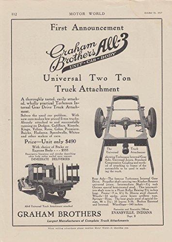 Graham Brothers All-3 Unit-Cab-Body 2-ton truck attachment ad 1917 MW - Unit Attachment
