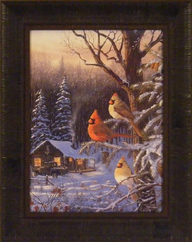 Cabin Fever by Terry Doughty 16x20 Cardinals Birds Winter
