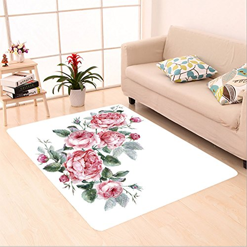 Sophiehome skid Slip rubber back antibacterial Area Rug classical vintage floral greeting card watercolor bouquet of english roses beautiful watercolor 300483593 Home Decorative