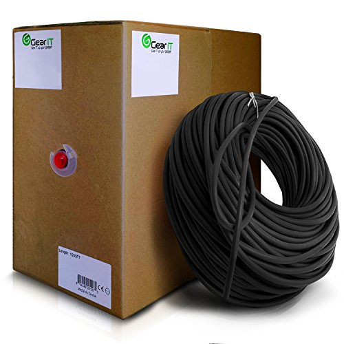 Price comparison product image GearIT 1000 Feet Bulk Cat5e Riser Rated (CMR) Ethernet Cable - Cat 5e 350Mhz 24AWG UTP Solid Full Copper Wire Pull Box, Black