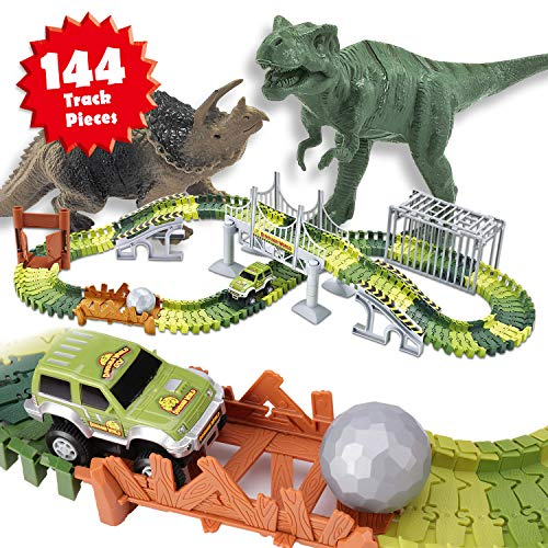 Veken Slot Car Race Track Set with 2 Dinosaurs, 1 Race Car Toy, Cage, Ball, Double-Door, 2 Bridges, Slopes, 4 Trees & 144 Flexible Tracks Create A Road in Jurassic World Gift for Boys Girls (The Best Ball In The World)