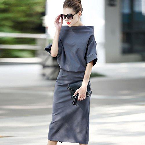 ZHUDJ Paquete Delgado Vestido De Cadera _ Bat Collar Funda Tejida Hip Paquete Vestido Femenino De Otoño gray
