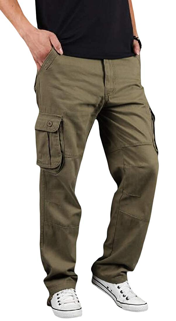 Lutratocro Mens Big and Tall Multi Pockets Straight Leg Cargo Rugged Wear Pants