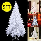PROSPERLY U.S.Product 5Ft Artificial PVC Christmas Tree W/Stand Holiday Season Indoor Outdoor White