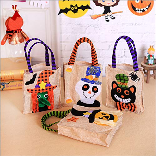 (4pcs Halloween Tote Bags Trick or Treat Gift Bag Monster Witch Black Cat Pumpkin Candy Goodie Handbag for Kids Children Party Decorations)