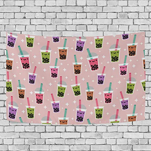DOPKEEP Boba Bubble Tea Tapestry Tapestries Decor Wall Art for Home Bedroom Living Room Dorm 80 x 60 Inches