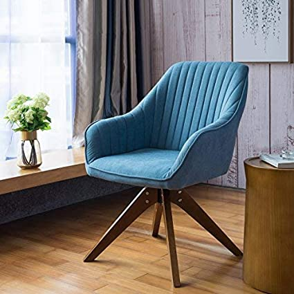 Blue Modern Accent Chairs.Art Leon Mid Century Modern Swivel Accent Chair Lily Sky Blue With Wood Legs Armchair For Home Office Study Living Room Vanity Bedroom