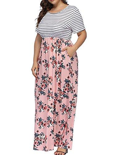 Allegrace Women's Plus Size Floral Print Striped Patchwork Maxi Dress Short Sleeve Long Dresses Pink-A 4X