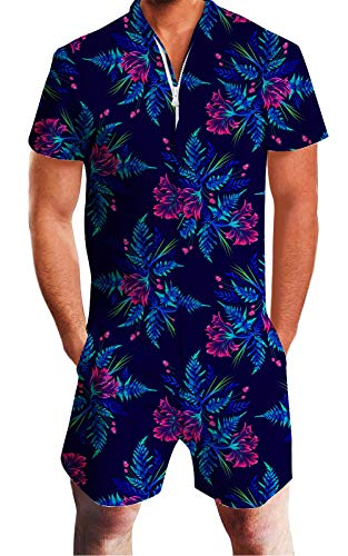 Men Rompers Hawaiian Tropical Graphic Bro Shirt Tropical Jumpsuit One Piece Outfits Zip Party Cargo Overalls XX-Large]()