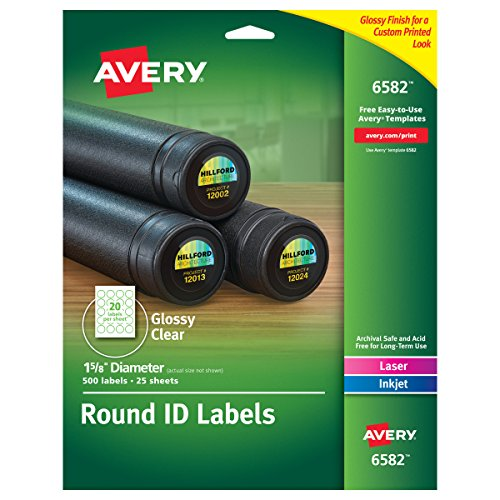 Avery Glossy Clear Permanent Multipurpose Round Labels, 1.625 Inch Diameter, Pack of 500 ()