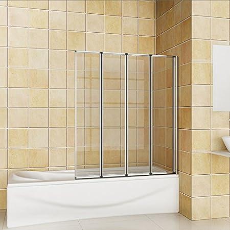 800x1400mm Chrome 4 Fold Folding Shower Bath Screen Glass Door Panel ...
