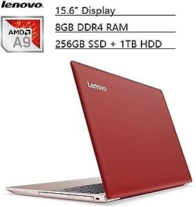 "Lenovo Ideapad Flagship 15.6"" HD Laptop PC, AMD A9-9420 Dual-Core, 8GB DDR4, 256GB SSD, 1TB HDD, AMD Radeon R5 Graphics, Bluetooth 4.1, Webcam, WiFi, HDMI, USB 3.0, Windows 10 (Coral Red)"