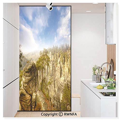 RWN Film Removable Static Decorative Privacy Window Films Wonders of The World National Park Rock Formation Czech Image for Glass (17.7In. by 78.7In),Sky Blue Tan Cream Olive Green