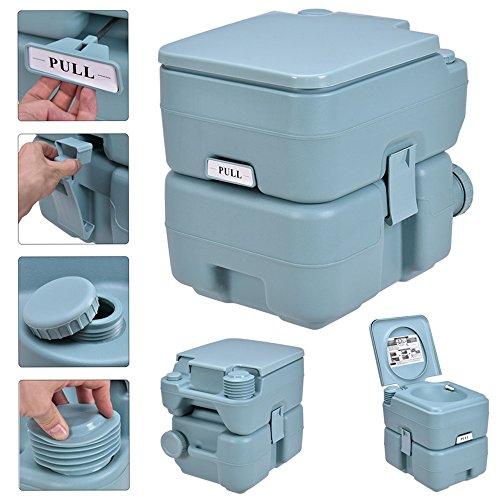 5 Gallon / 20L Portable Toilet Flush Travel Outdoor Camping Hiking Toilet Potty (Mica Black Lid)